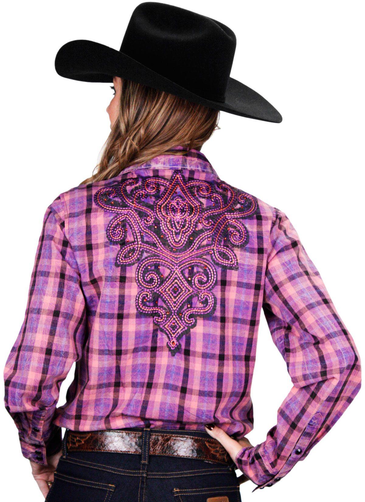 839365d6ff Camisa Feminina Bordada Xadrez Manga Longa Cowgirl Up Camisa country  feminina feita em 100% algodão