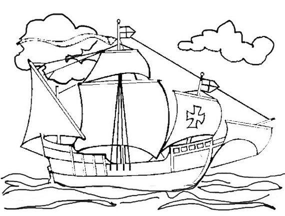 Columbus Day Ships Coloring Pages | Coloring pages, Columbus ...