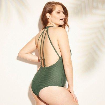 e73fbe2cc58 Women's Textured Strappy Back One Piece Swimsuit - Kona Sol Dark Green XL