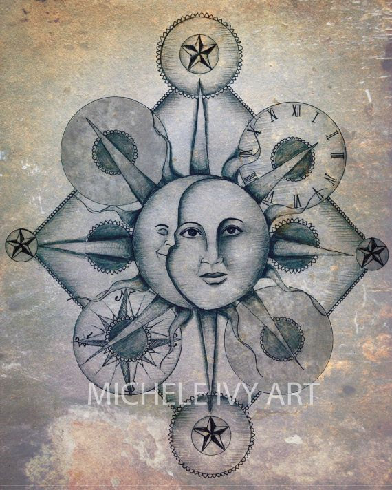 Sun and Moon. Now THIS is intriguing. I like that they added in a clock and a compass. I need to figure out a way to add these elements in also. And maybe my Gemini sign with everything too. Oh the ideas and possibilities!