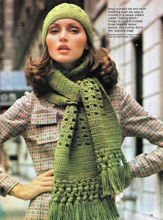 Crochet Womens Quick Easy Crochet Hat Scarf Pattern Vintage
