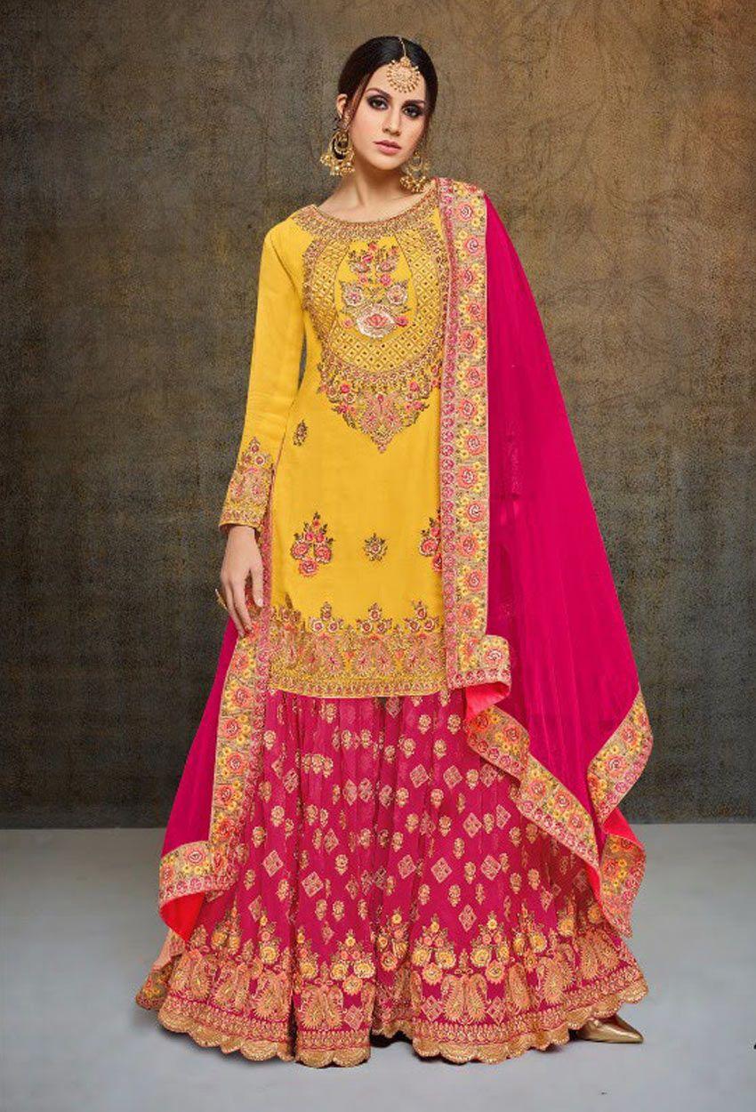 a8dae08b01 Orange,Yellow Georgette Party Wear Sharara Suit #reshamembroidery  #reshamembroiderysalwarkameez #onlinesalwarsuit #salwarkameezonline #dress  ...