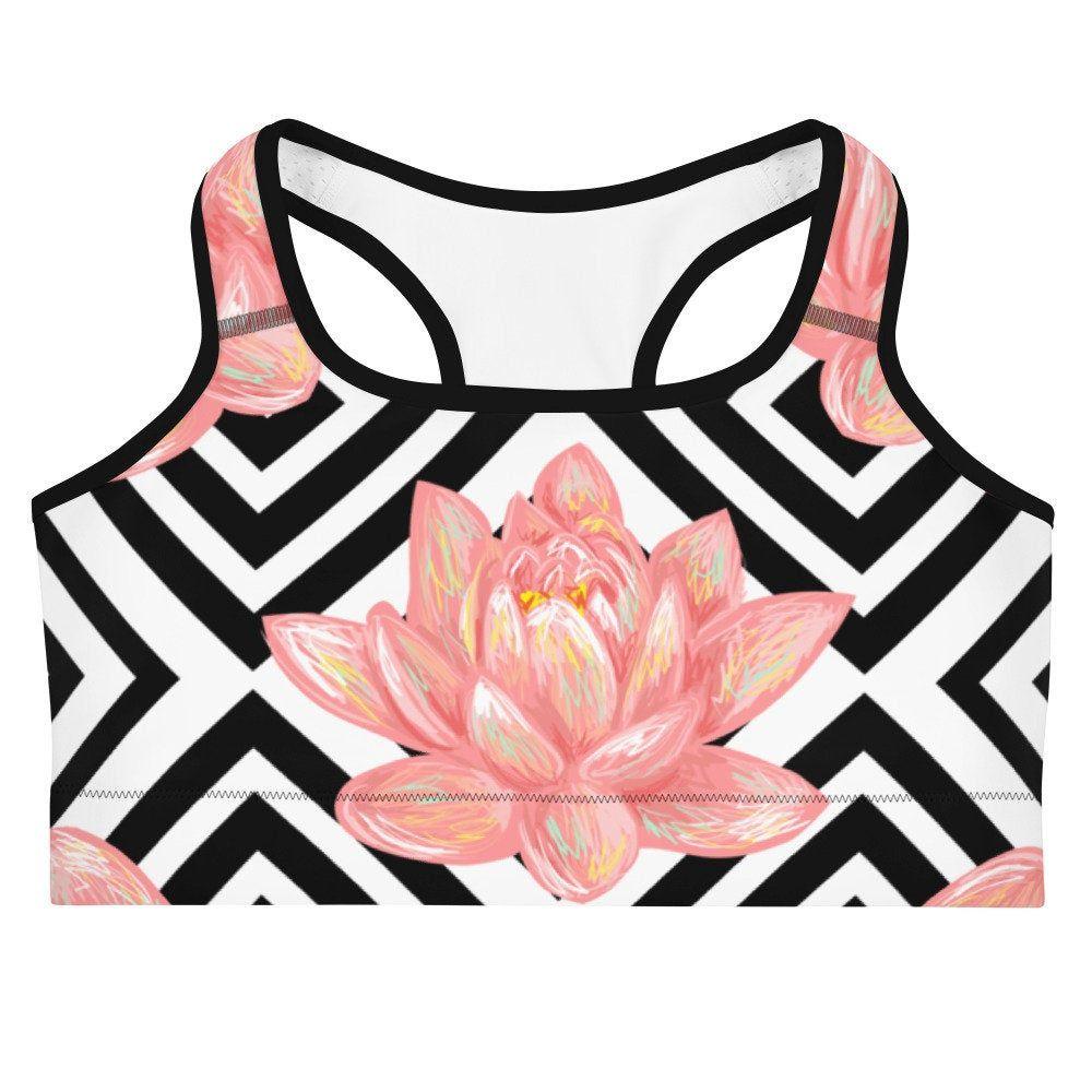 Yoga Fitness Bra Pink Lotus Sports Bra Lotus Pink Flower Sportsbra Lotussportsbra Lotusfitnessbra Pinkflowerbra Accupbra Bcupsportsbra Pinklotussportsbr