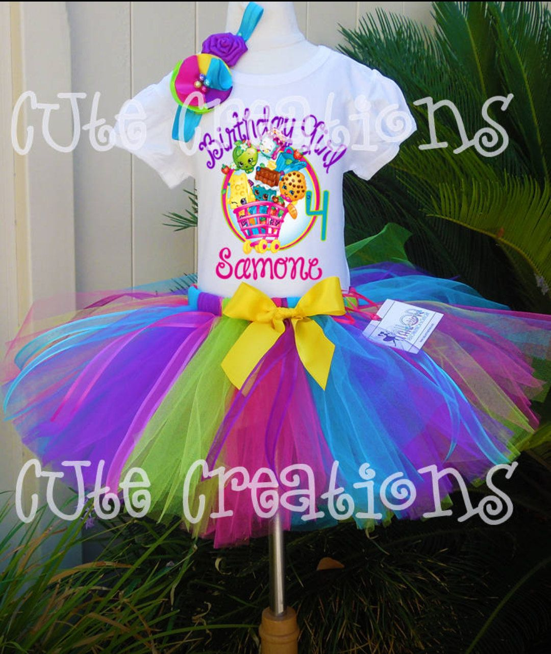 Shopkins *With NAME* 6th Sixth 6 Birthday Purple Tutu Dress Fast Shipping