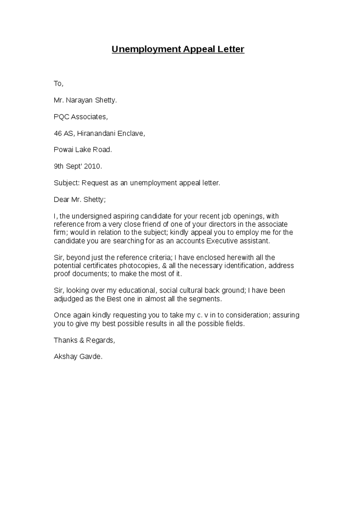 sample unemployment appeal letter with lucy jordan compensation claims workers examples