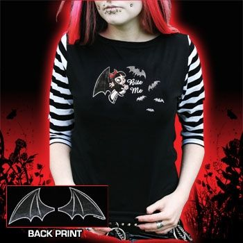 Scary Miss Mary Bite Me Raglan Top by Scary Miss Mary - Bat Wings on Back! Also comes with regular black sleeves, but I kinda dig the black and white stripes! ;)