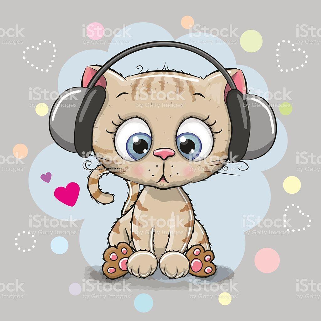 Cute cartoon Kitten with headphones on a gray background