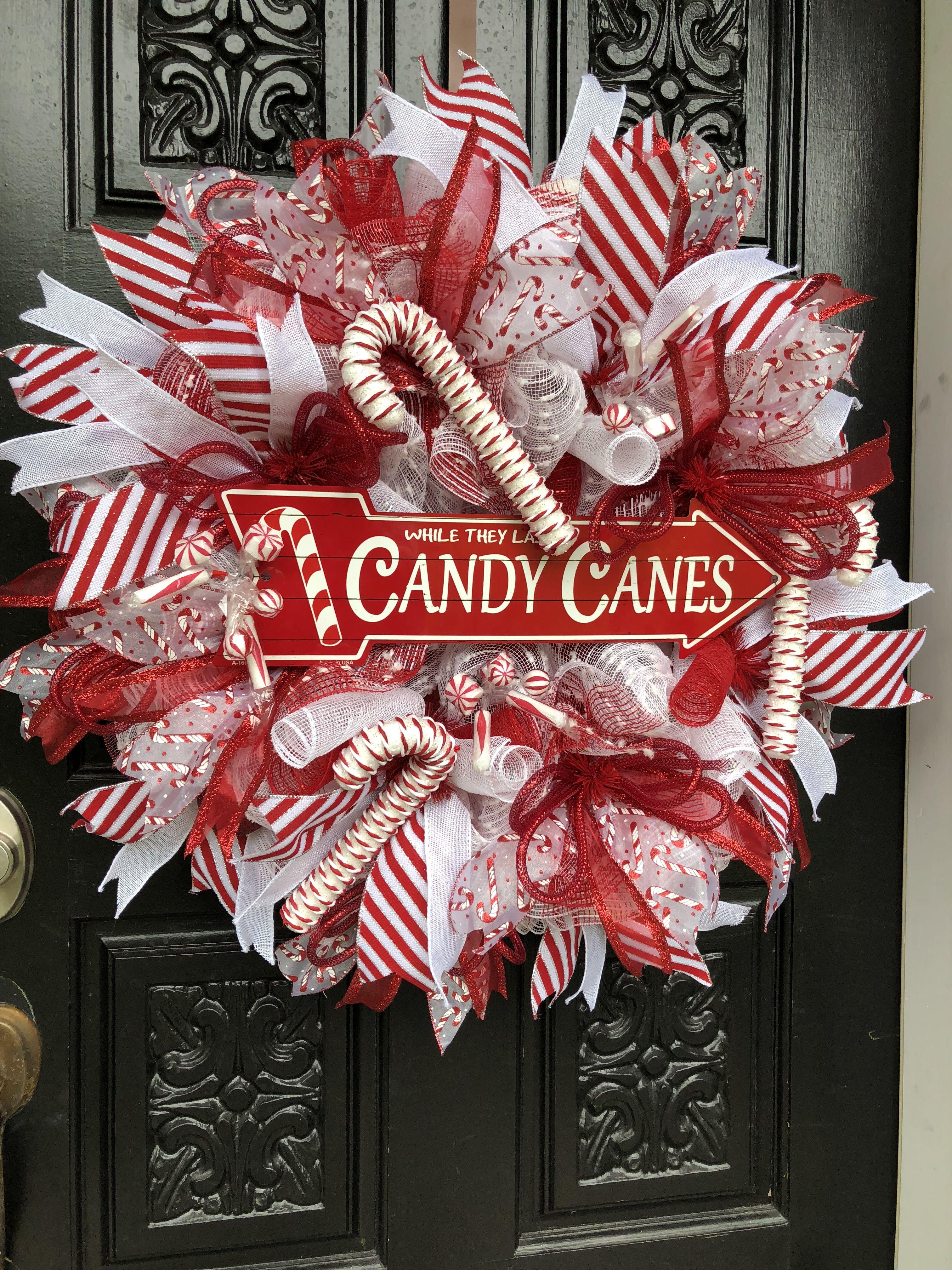 Christmas wreath, Candy cane wreath, Holiday wreath, diy