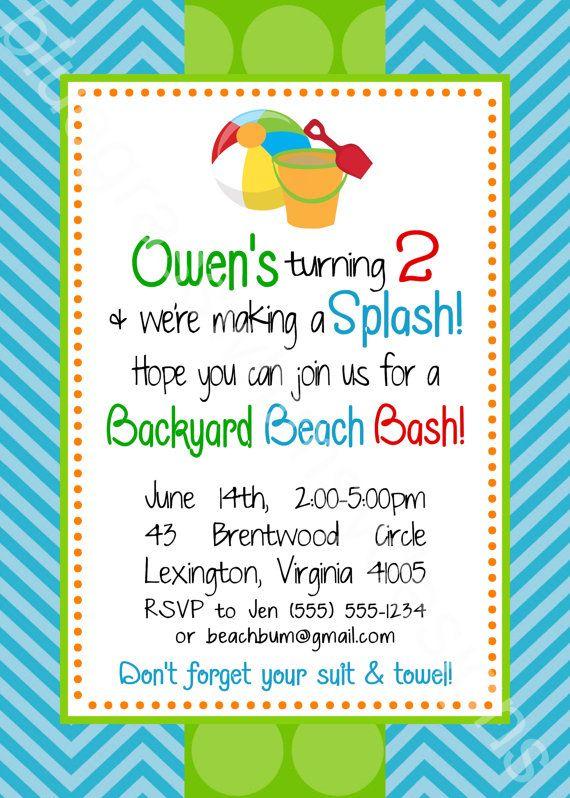 birthday beach bash let s make a splash kid s party 5x7 printable