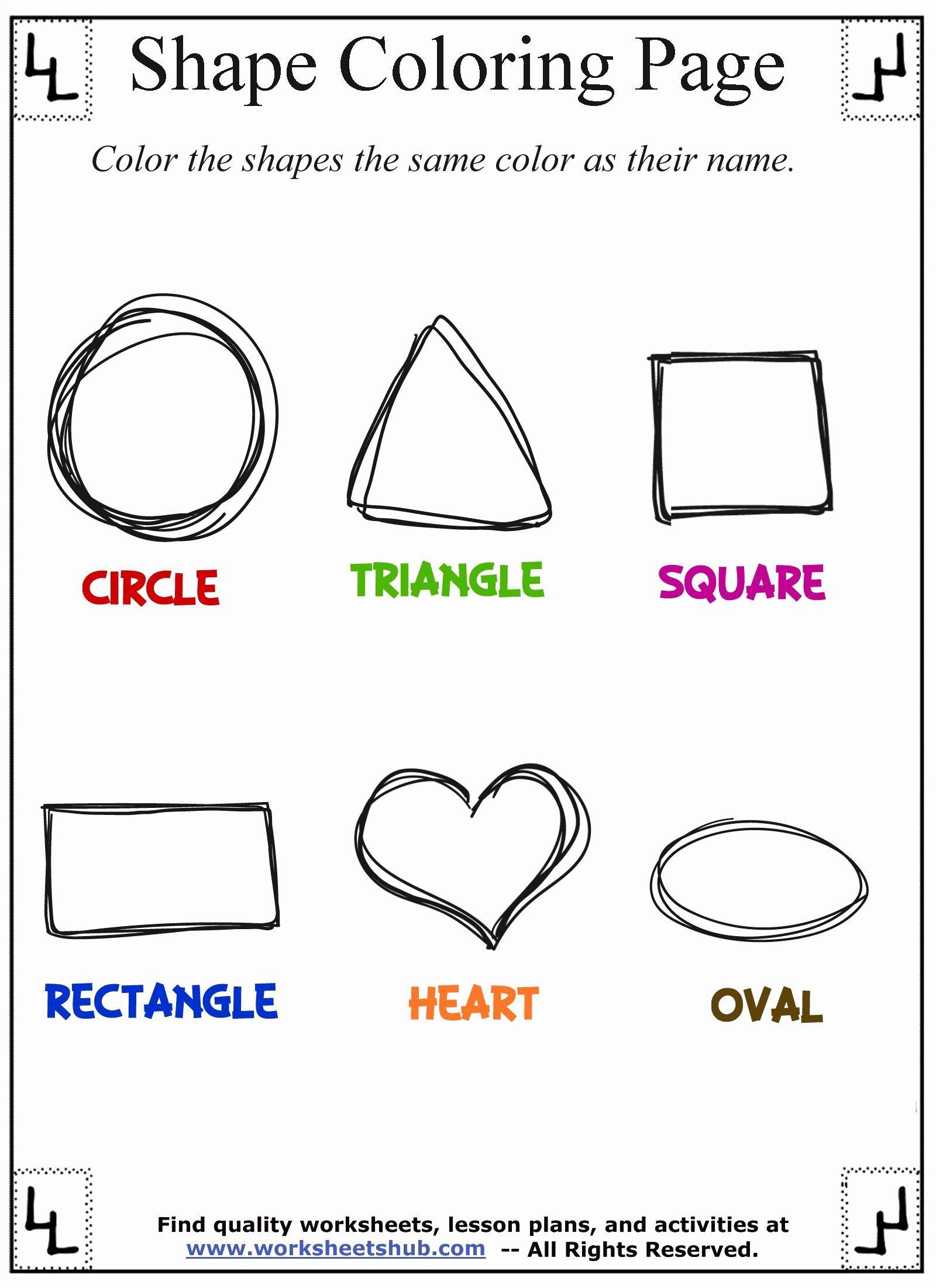 Shape Coloring Pages For Preschoolers Awesome Shape