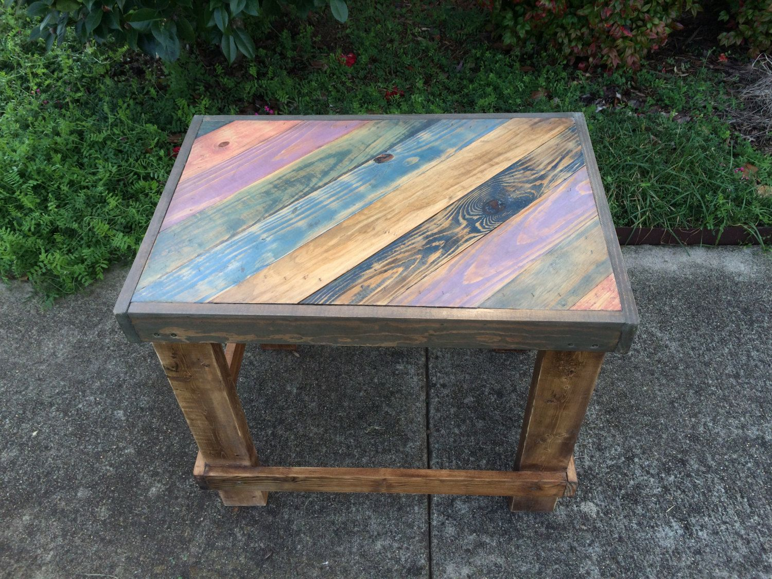 Ready To Ship Handmade Reclaimed Wood End Table Colorful