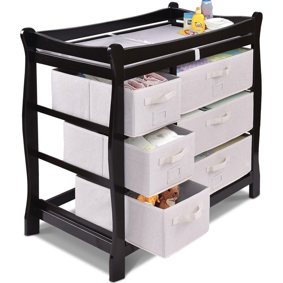 Coffee Costzon Baby Changing Table Basket Hamper Infant Diaper Nursery Station