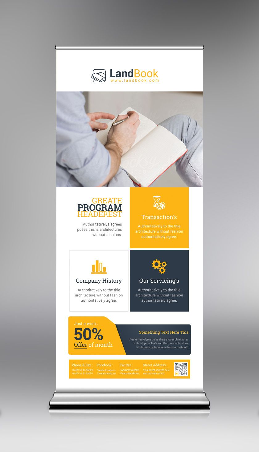 Psd Elegant Roll Up Banner Template Graphic Templates Roller Banner Banner Template Rollup Banner Design
