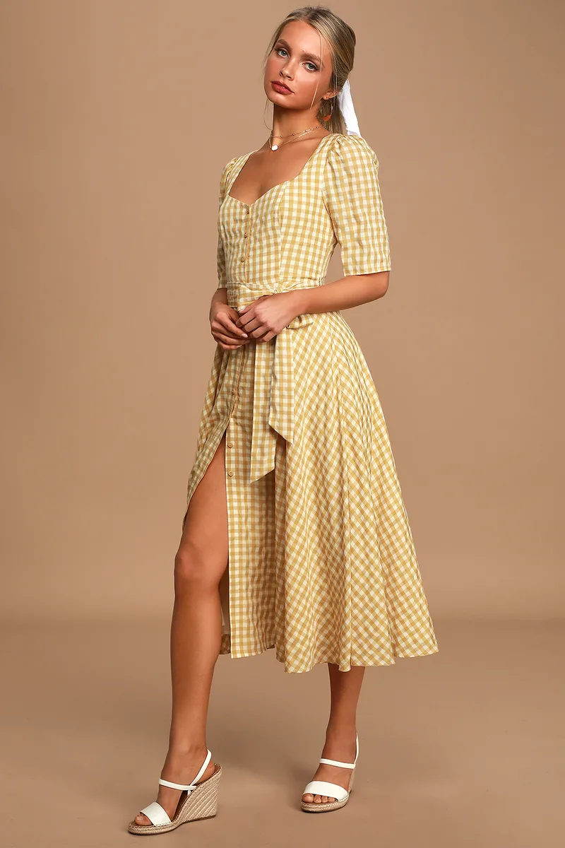Sweet Little Thing Mustard Yellow Gingham Button Up Midi Dress Yellow Plaid Dress Midi Flare Skirt Cute Summer Dresses [ 1200 x 800 Pixel ]