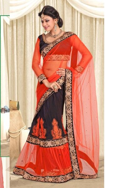 Presenting Orange and Black Net and Faux Georgette Lehenga Saree Order Now@ http://zohraa.com/sarees/sari/lehenga-saree/black-faux-georgette-lehenga-saree-kasatsun312.html Rs. 5199.