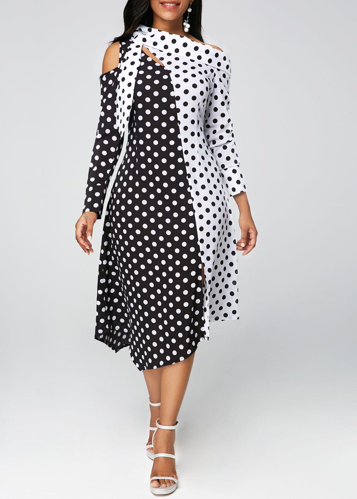 e27cf6dcc65 Asymmetric Hem Long Sleeve Printed Dress