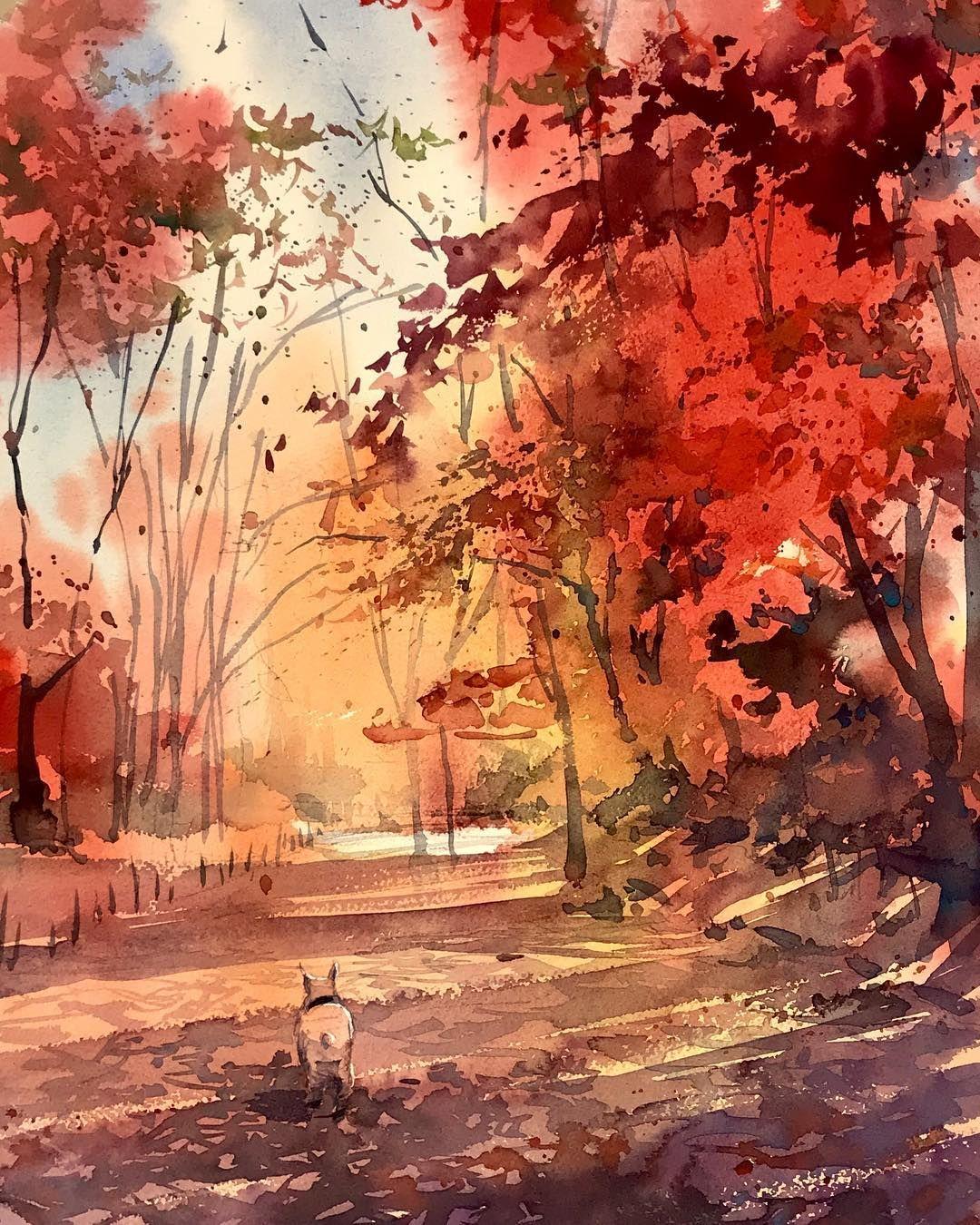 Into The Red In Japan Yokohama Watercolor Japan Color Landscape Kazuokasai Apache Red Yellow Coloredleaves Sketch Park Malarstwo Akwarele Obrazy