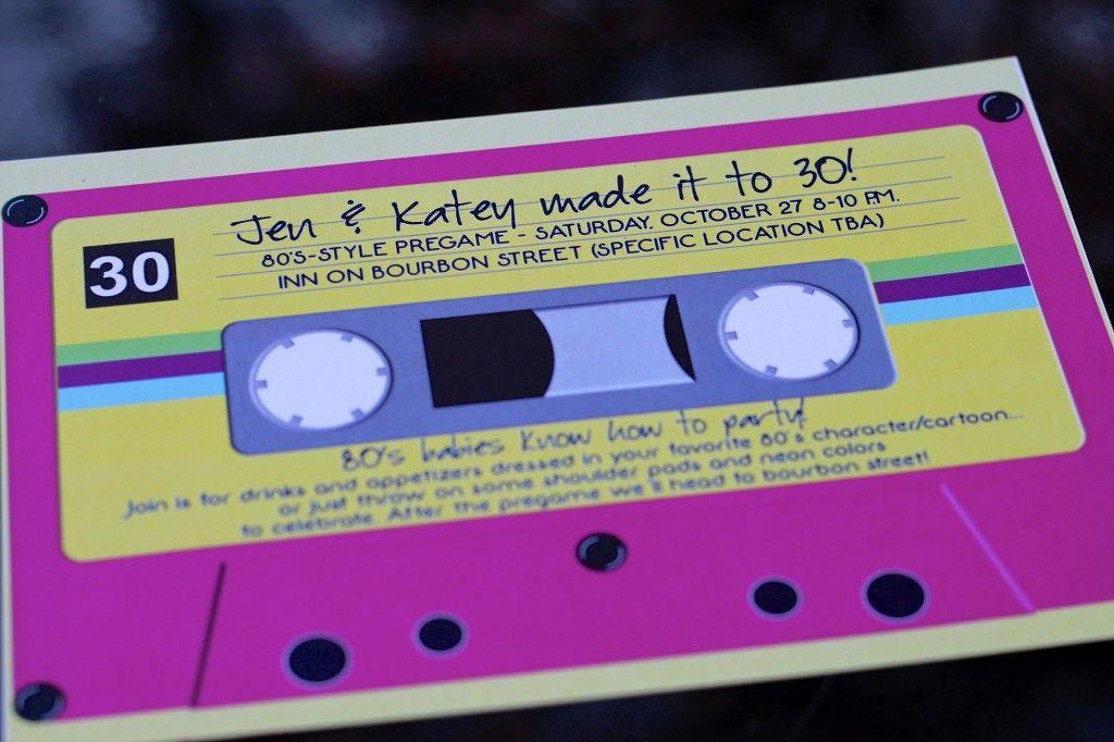 30th Birthday 80 S Theme Cassette Tape Invites 80 Theme Party