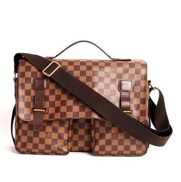 0352b3555ed7 Broadway 1883 Brown Damier Canvas Weekend Travel Bag