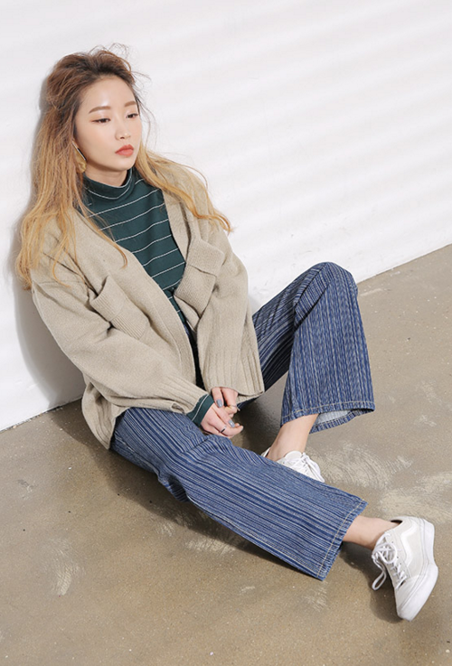 [STYLENANDA] TWO POCKET KNIT CARDIGAN