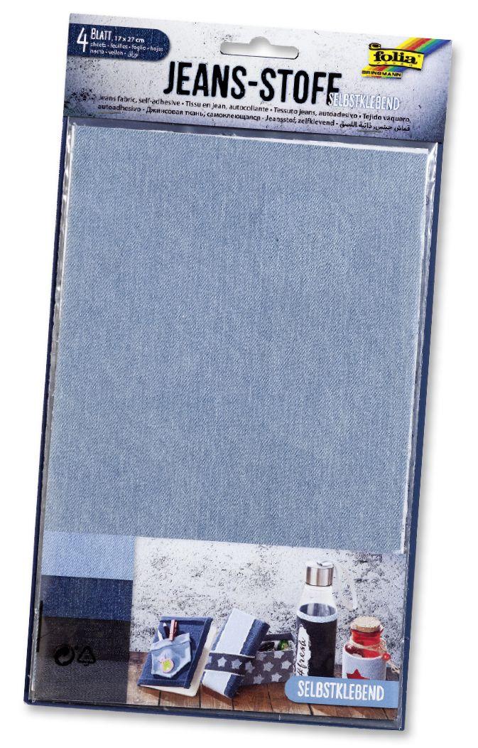Der neue selbstklebende Jeansstoff ist in vier Farben erhältlich. Mehr unter https://www.folia.de/epaper/folia_neuheitenkatalog_2017/catalog_9179689/#/28