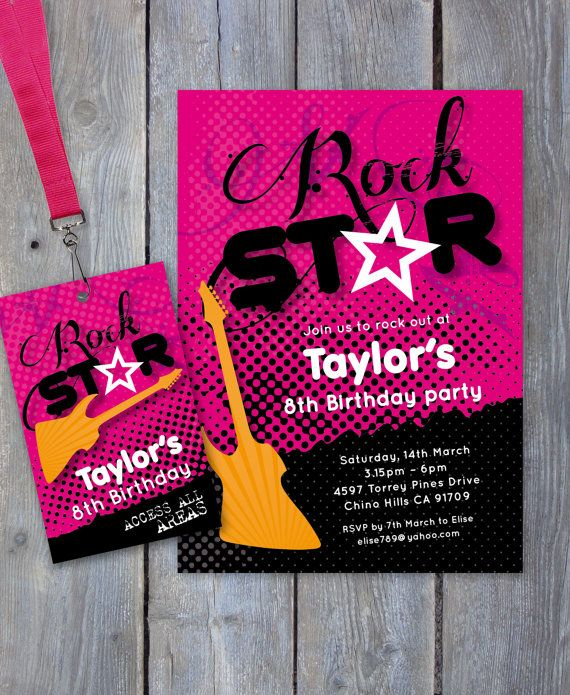 ROCK Star Party Printable Invitation Backstage Pass Print Your – Rockstar Party Invites
