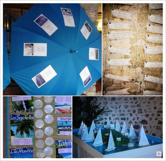 decoration mariage mer plan de table parasol planisphere. Black Bedroom Furniture Sets. Home Design Ideas