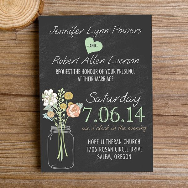 boho rustic wedding invitations mason jars heart chalkboard EWI369