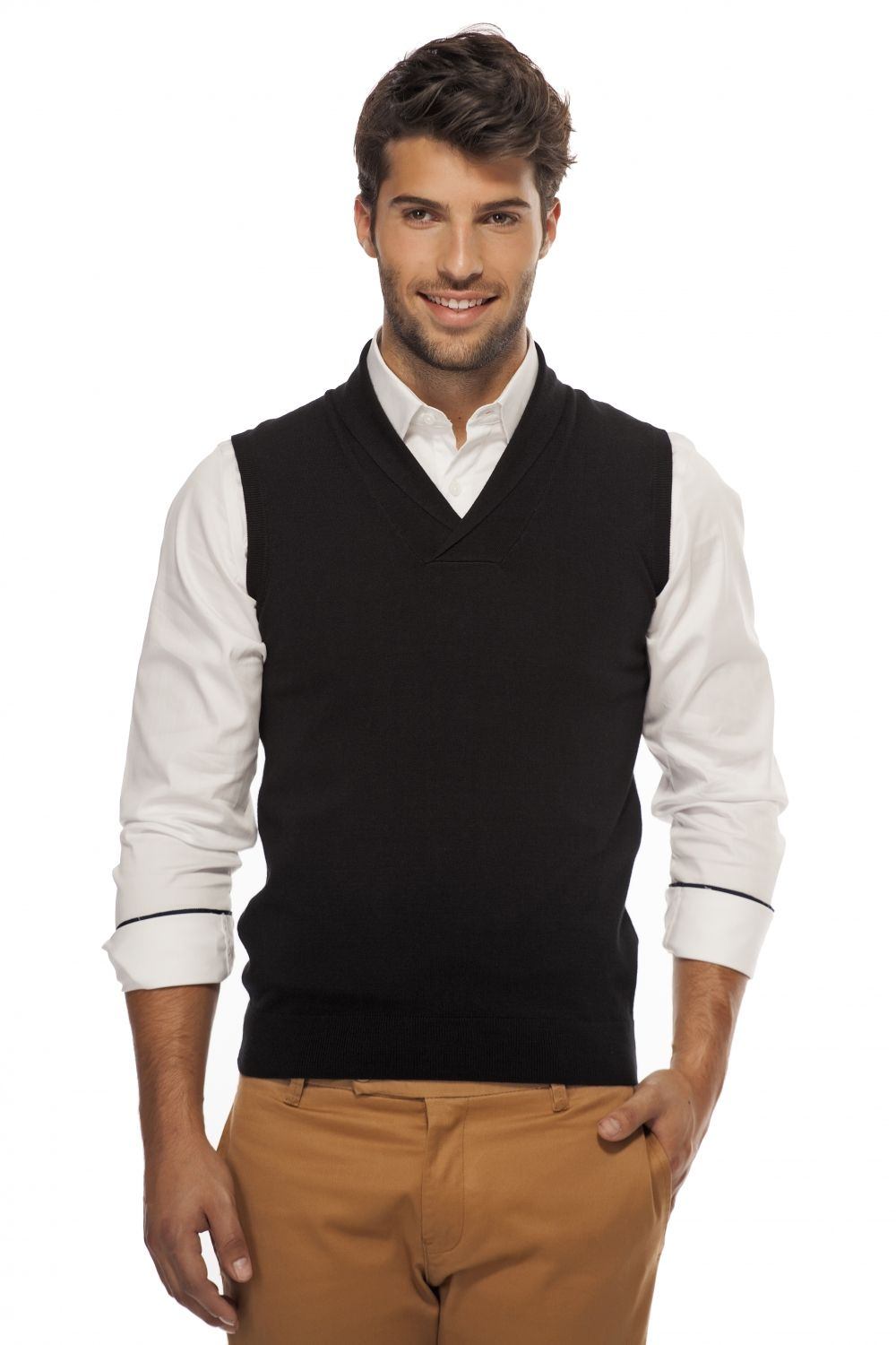 Shawl collar sleeveless vest - Sweaters & Cardigans - Men ...