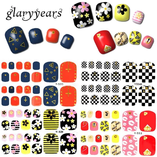 Glaryyears 1 Sheet Full Cover Y Foot Nail Art Decal Metallic Gold Toenail Sticker Flower Lace Pattern Toe Tips Decoration Makeup Pedicure Designs Nail Stickers Designs Pedicure Colors