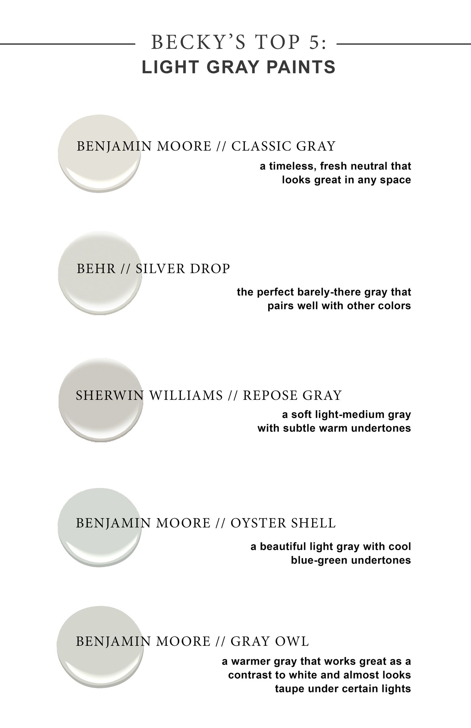 My Top 5 Favorite Light Gray Paint Colors You Just Can T Go