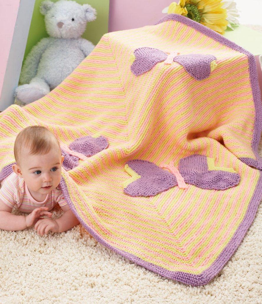 Free Knitting Pattern for Butterfly Baby Blanket - Garter ...
