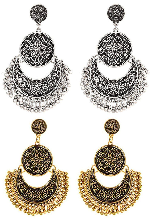 Shining Diva Fashion Jewellery Oxidised Silver Gold Combo of 2 ...