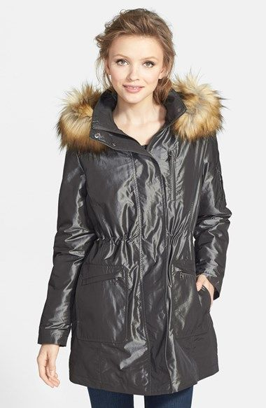 Kristen Blake Faux Fur Trim Iridescent Anorak (Regular & Petite) | Nordstrom