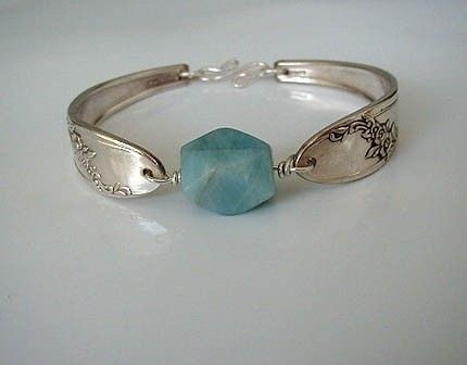 Silver Spoon Bracelet Recycled Silverware Jewelry Amazonite Bead Made to Order. $29.00, via Etsy.
