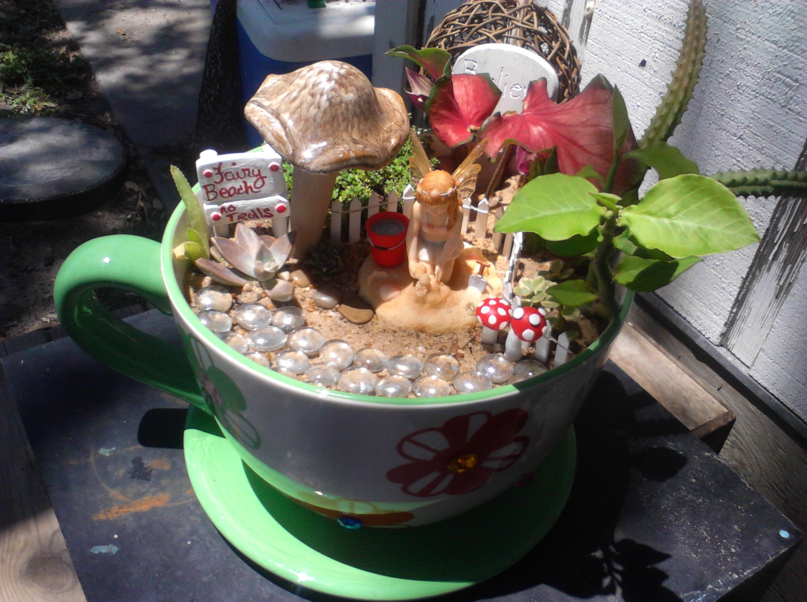 New Now For Sale Beach Fairy Garden In Xl Teacup Pot Comes With Beach Fairy White Picket Fenc Beach Fairy Garden Miniature Fairy Gardens Backyard Crafts