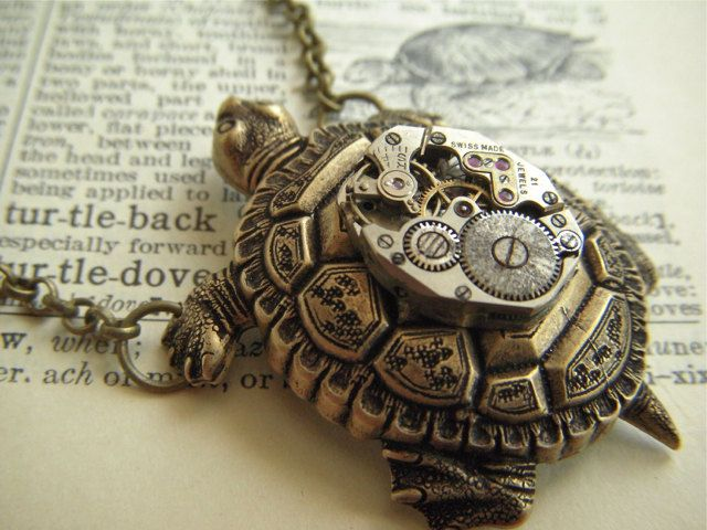 Steampunk Necklace Turtle Vintage Watch Movement Nautical Sealife Jewelry Rustic Antiqued Bronze Brass Rolo Chain. $75.00, via Etsy.