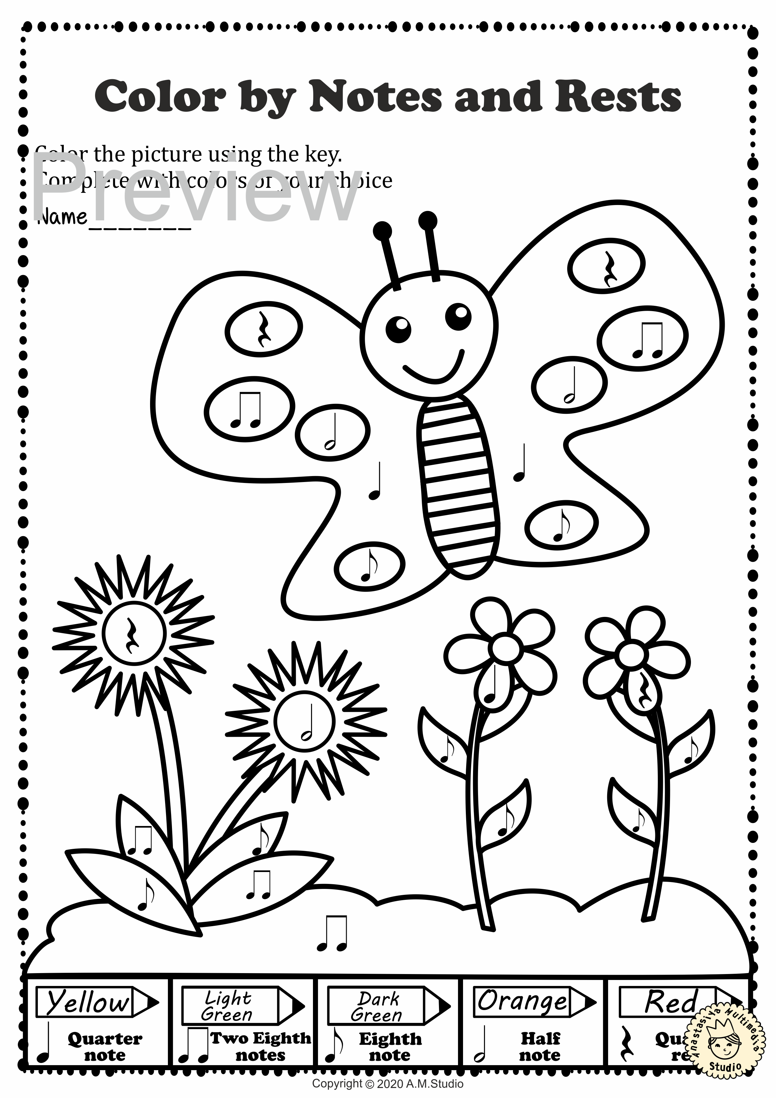 Musical Coloring Pages for Spring Color by Notes and Rests with