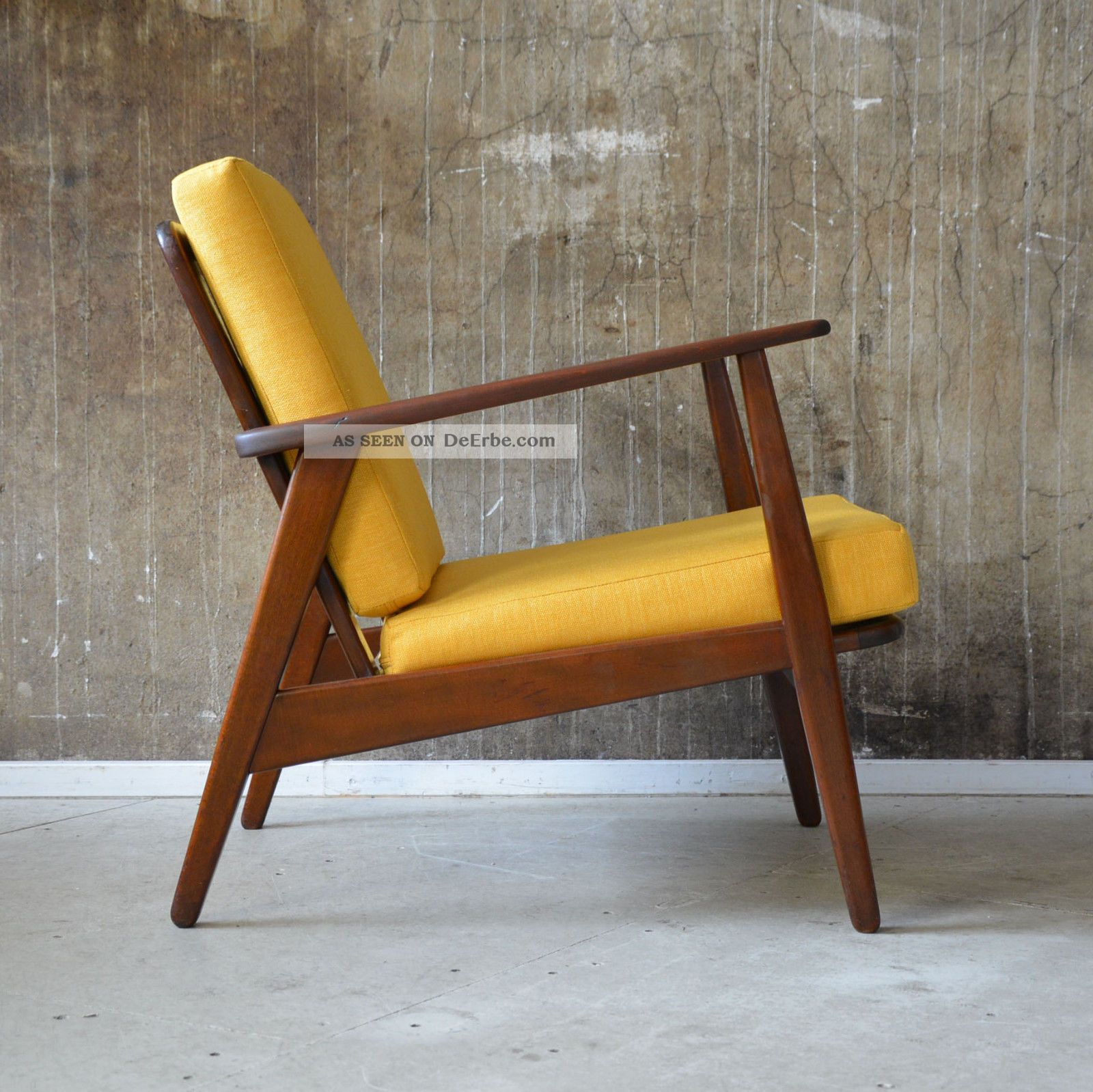 Lounge Sessel Gelb 60er Teak Sessel Danish Design 60s Easy Chair Vintage Midcentury