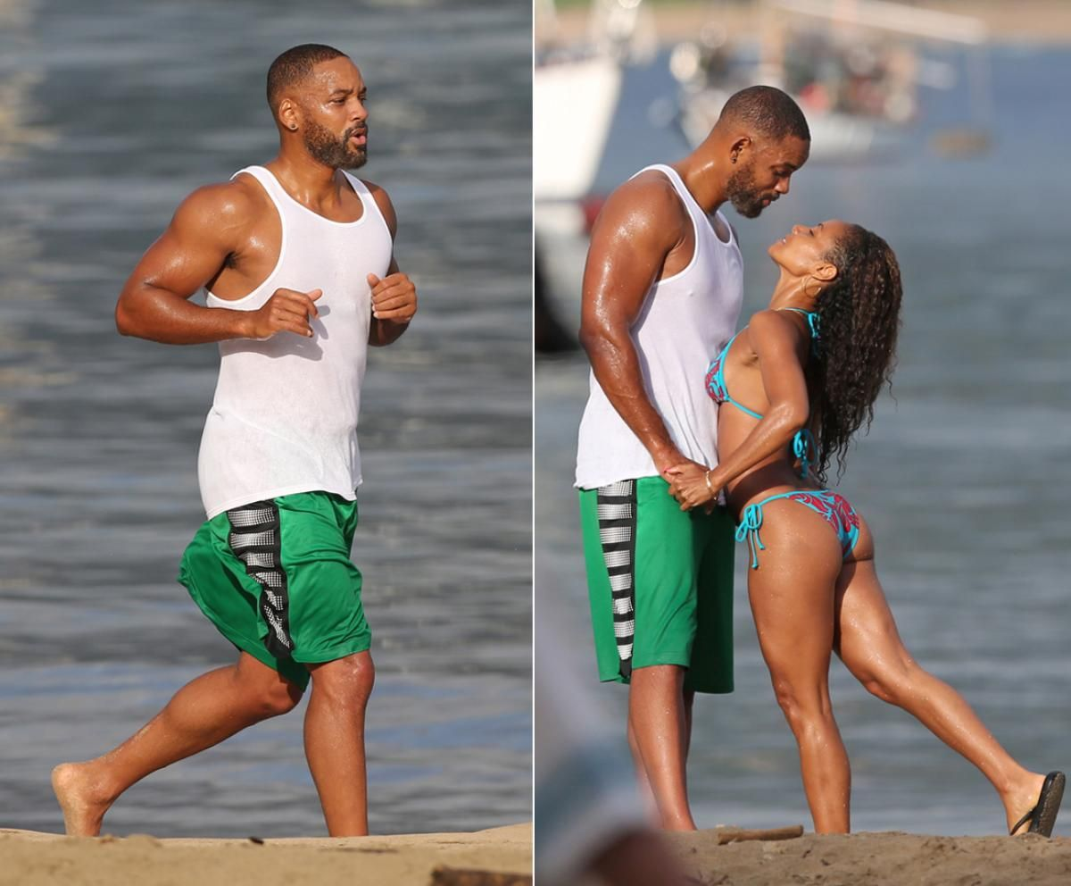 Jada Pinkett showing her beach body with husband Will Smith