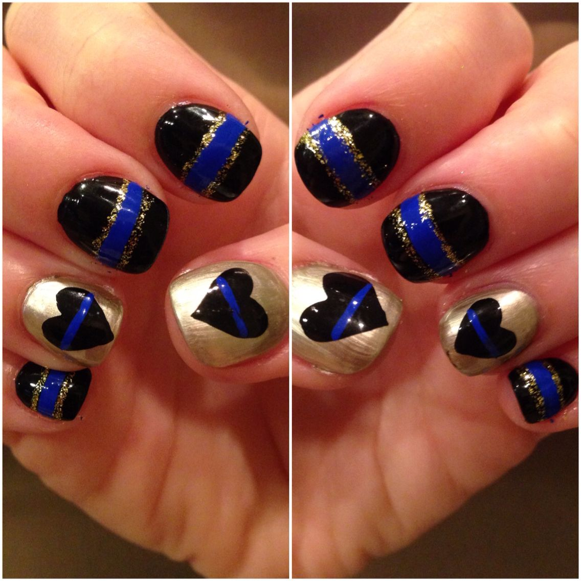 Back The Blue Thin Gold Line Gold Backs The Blue Dispatcher Nails Lines On Nails Line Nail Designs Line Nail Art