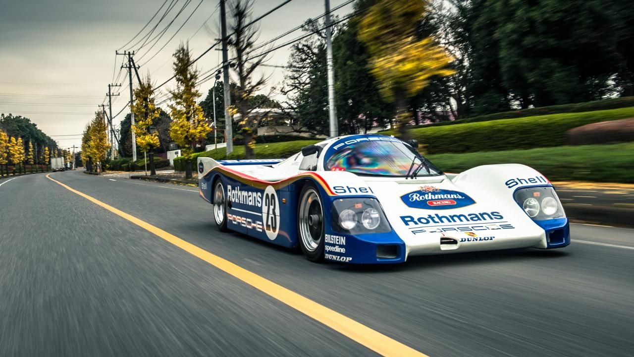 On the road in a Porsche 962 Le Mans car