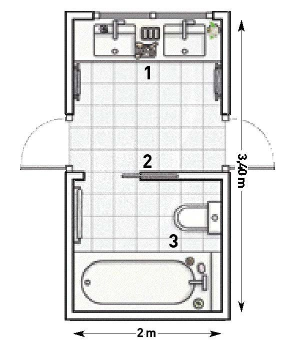 Un cuarto de baño compartido para dos habitaciones ...