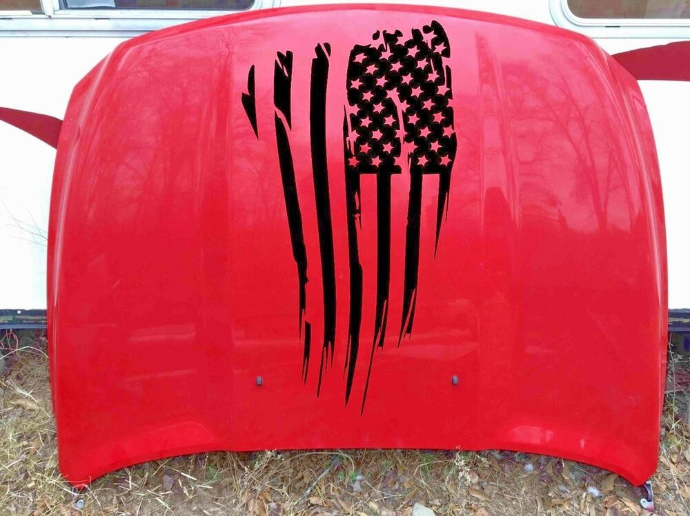 Chevy Ford Distressed American USA flag Hood vinyl sticker decal Fit for Dodge