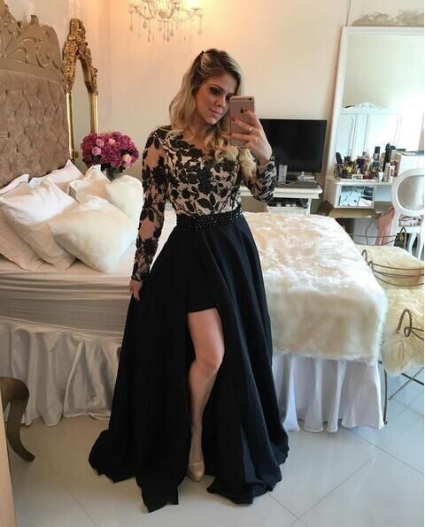 Long Sleeves Black Short Prom Dresses Barbara Melo Lace Applique Bodice  with Detachable Skirt Prom Gown Long Graduation Dresses ce8dcaa27e61
