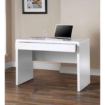white gloss office desk. dams luxor high gloss white office desk