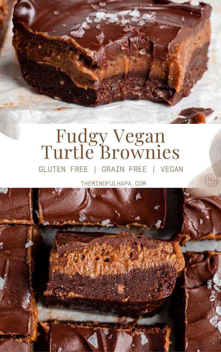 Fudgy Vegan Turtle Brownies - The Mindful Hapa