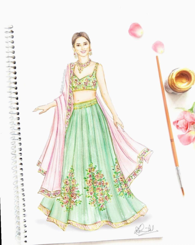 13 Fashion Sketches Dresses Indian Fashion Illustration Dresses Illustration Fashion Design Dress Design Drawing