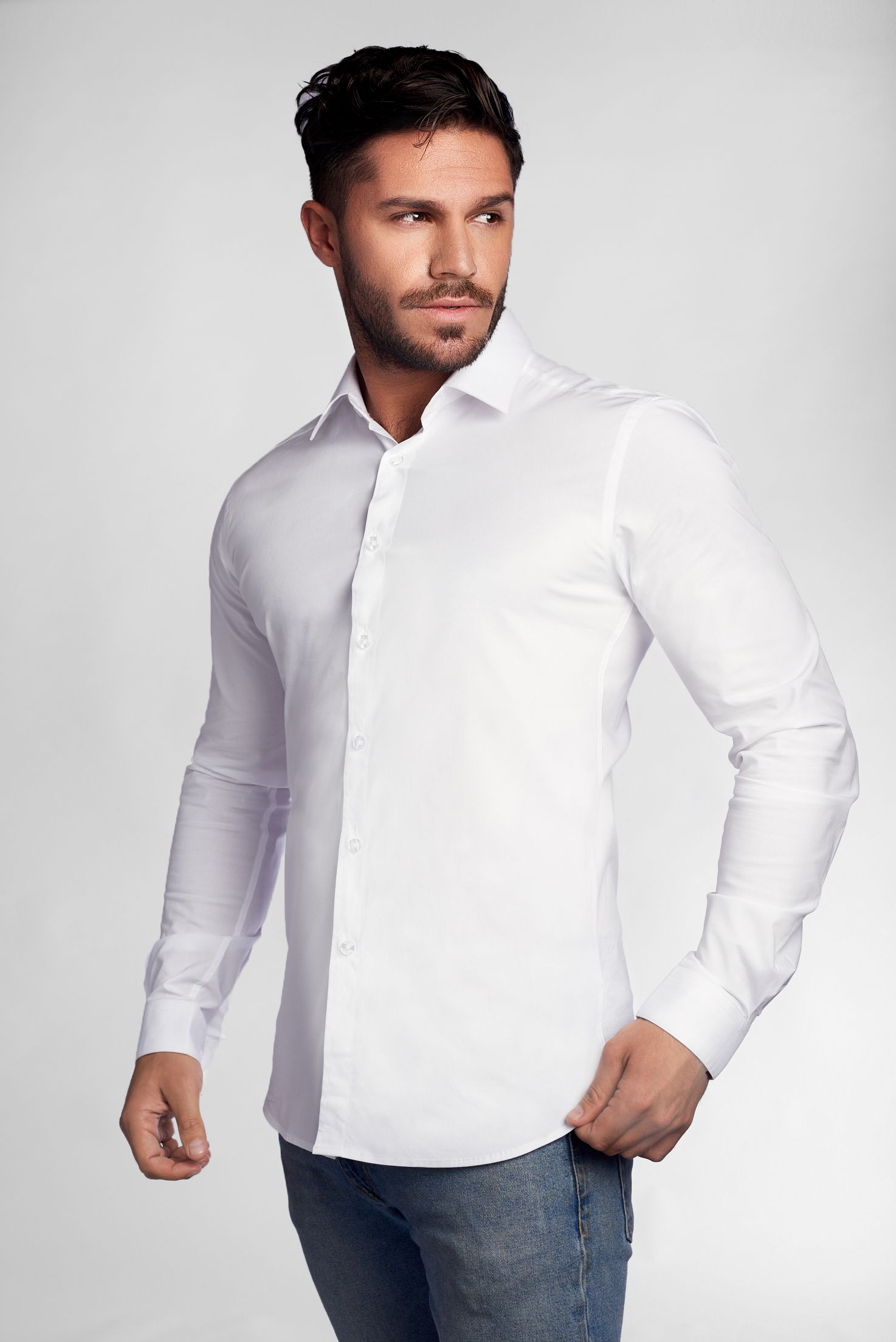 White Tapered Fit Shirt Tapered Fitted Shirts Dress Shirts