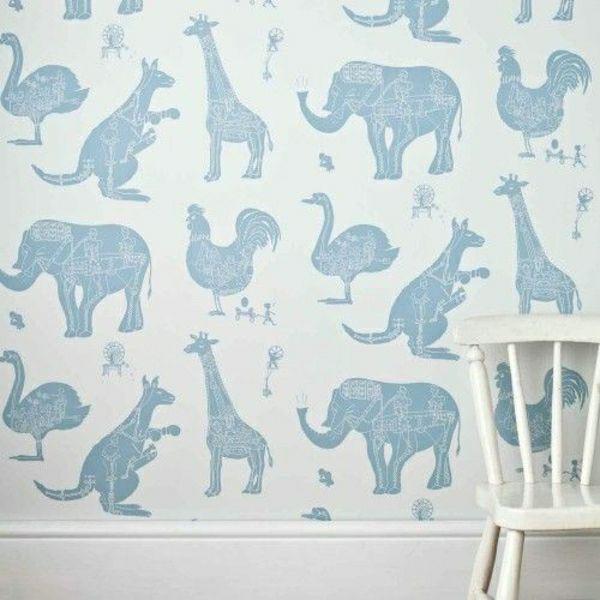 Wei e tapete mit tiermotiven in blau baby love for Braune tapete schlafzimmer